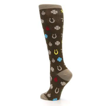 Image of Brown Good Luck Charm Women's Knee High Socks (side-2-back-14)