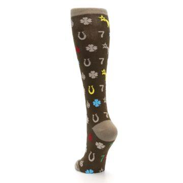 Image of Brown Good Luck Charm Women's Knee High Socks (side-2-back-16)