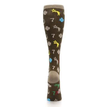 Image of Brown Good Luck Charm Women's Knee High Socks (back-19)