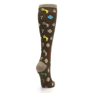 Image of Brown Good Luck Charm Women's Knee High Socks (side-1-back-21)