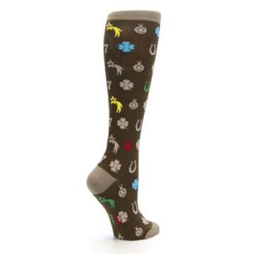 Image of Brown Good Luck Charm Women's Knee High Socks (side-1-23)