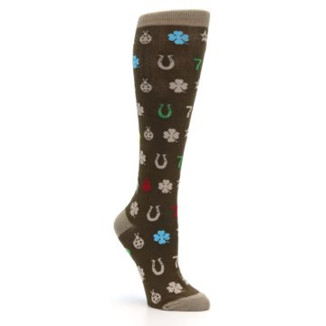 Image of Brown Good Luck Charm Women's Knee High Socks (side-1-27)