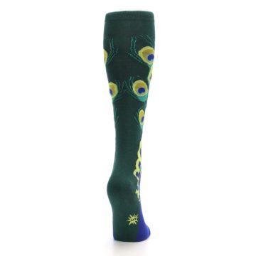 Image of Green Blue Peacock Women's Knee High Socks (side-1-back-20)