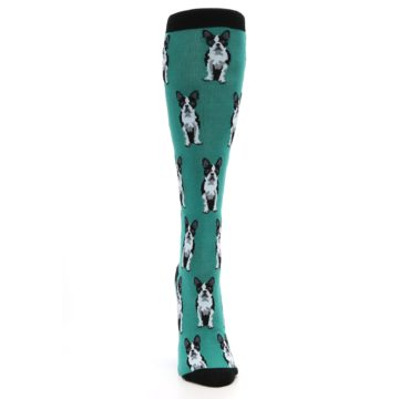 Image of Green Boston Terrier Women's Knee High Socks (front-04)