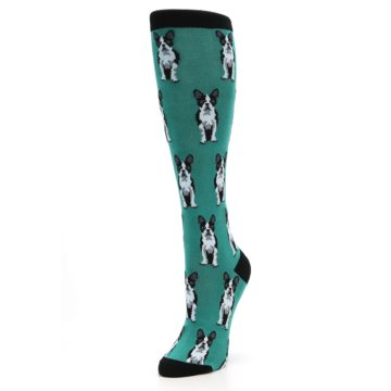 Image of Green Boston Terrier Women's Knee High Socks (side-2-front-08)