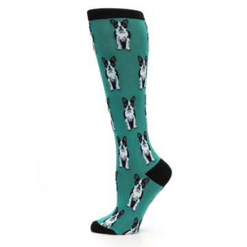 Image of Green Boston Terrier Women's Knee High Socks (side-2-12)