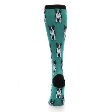 Image of Green Boston Terrier Women's Knee High Socks (back-18)