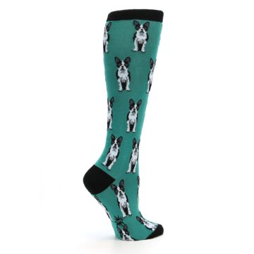 Image of Green Boston Terrier Women's Knee High Socks (side-1-24)