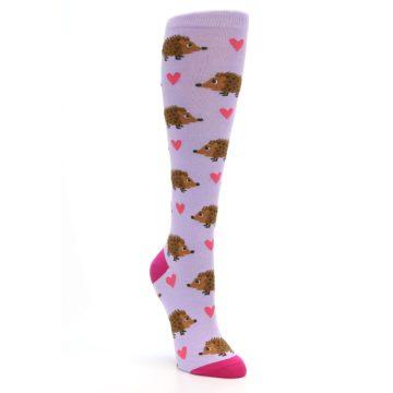 Image of Purple Pink Hedgehog Women's Knee High Socks (side-1-front-02)