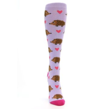 Image of Purple Pink Hedgehog Women's Knee High Socks (front-04)