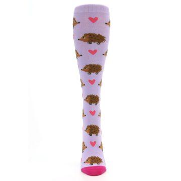 Image of Purple Pink Hedgehog Women's Knee High Socks (front-05)