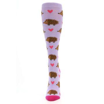 Image of Purple Pink Hedgehog Women's Knee High Socks (side-2-front-06)