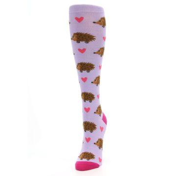 Image of Purple Pink Hedgehog Women's Knee High Socks (side-2-front-07)