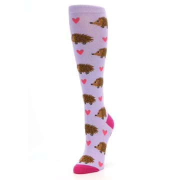 Image of Purple Pink Hedgehog Women's Knee High Socks (side-2-front-08)
