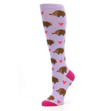 Image of Purple Pink Hedgehog Women's Knee High Socks (side-2-10)
