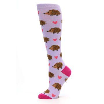 Image of Purple Pink Hedgehog Women's Knee High Socks (side-2-11)