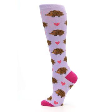 Image of Purple Pink Hedgehog Women's Knee High Socks (side-2-12)