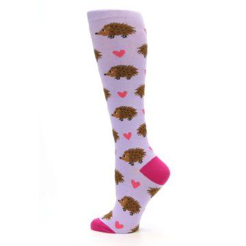 Image of Purple Pink Hedgehog Women's Knee High Socks (side-2-13)