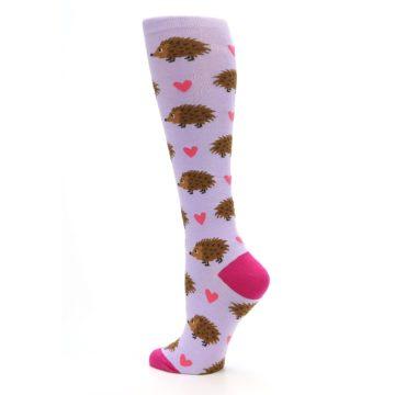 Image of Purple Pink Hedgehog Women's Knee High Socks (side-2-back-14)