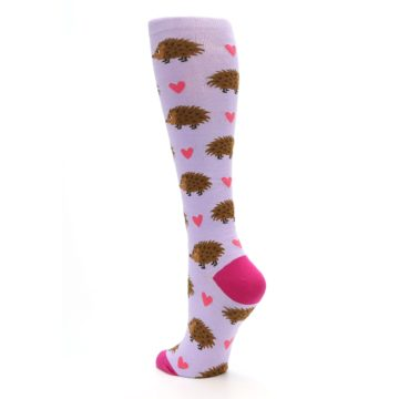 Image of Purple Pink Hedgehog Women's Knee High Socks (side-2-back-15)