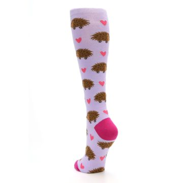 Image of Purple Pink Hedgehog Women's Knee High Socks (side-2-back-16)
