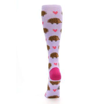 Image of Purple Pink Hedgehog Women's Knee High Socks (back-18)