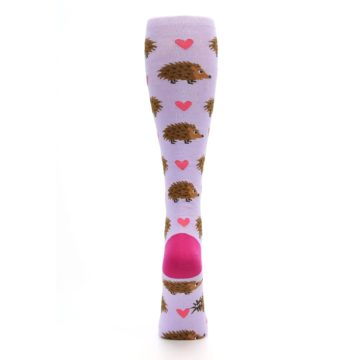 Image of Purple Pink Hedgehog Women's Knee High Socks (back-19)