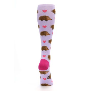 Image of Purple Pink Hedgehog Women's Knee High Socks (side-1-back-20)