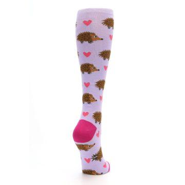 Image of Purple Pink Hedgehog Women's Knee High Socks (side-1-back-21)