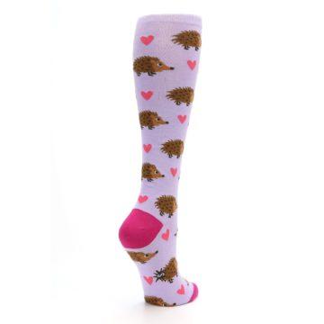 Image of Purple Pink Hedgehog Women's Knee High Socks (side-1-back-22)