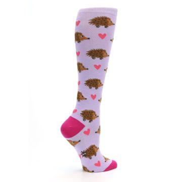 Image of Purple Pink Hedgehog Women's Knee High Socks (side-1-24)