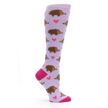 Image of Purple Pink Hedgehog Women's Knee High Socks (side-1-25)