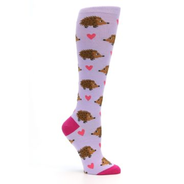 Image of Purple Pink Hedgehog Women's Knee High Socks (side-1-26)