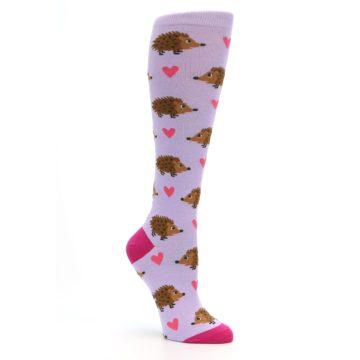 Image of Purple Pink Hedgehog Women's Knee High Socks (side-1-27)