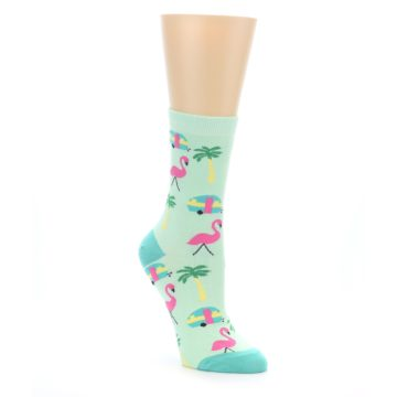 Image of Green Pink Tropical Florida Women's Dress Socks (side-1-front-01)