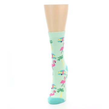 Image of Green Pink Tropical Florida Women's Dress Socks (side-2-front-06)