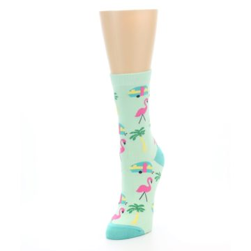 Image of Green Pink Tropical Florida Women's Dress Socks (side-2-front-07)