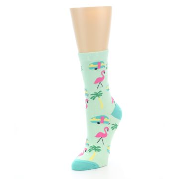 Image of Green Pink Tropical Florida Women's Dress Socks (side-2-front-08)
