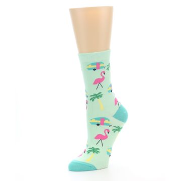 Image of Green Pink Tropical Florida Women's Dress Socks (side-2-09)
