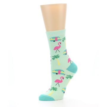 Image of Green Pink Tropical Florida Women's Dress Socks (side-2-10)