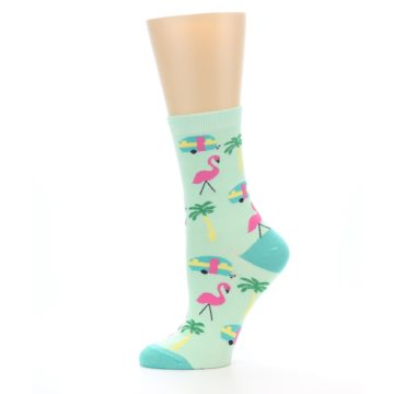 Image of Green Pink Tropical Florida Women's Dress Socks (side-2-11)