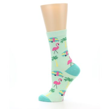 Image of Green Pink Tropical Florida Women's Dress Socks (side-2-12)