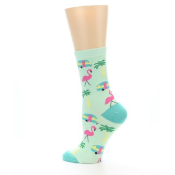 Image of Green Pink Tropical Florida Women's Dress Socks (side-2-13)
