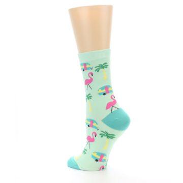 Image of Green Pink Tropical Florida Women's Dress Socks (side-2-back-14)