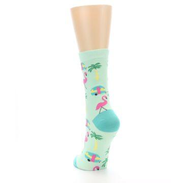 Image of Green Pink Tropical Florida Women's Dress Socks (side-2-back-16)