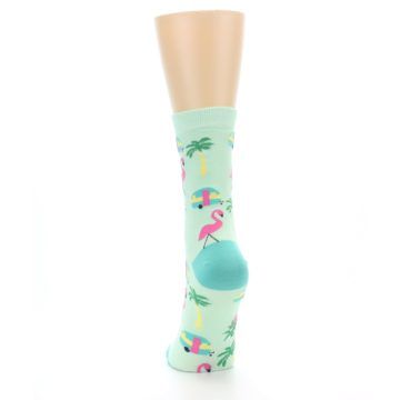 Image of Green Pink Tropical Florida Women's Dress Socks (back-17)