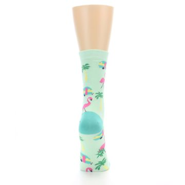 Image of Green Pink Tropical Florida Women's Dress Socks (back-19)