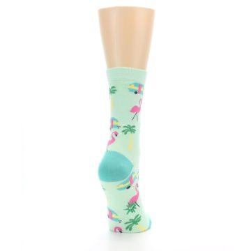 Image of Green Pink Tropical Florida Women's Dress Socks (side-1-back-20)