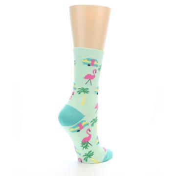 Image of Green Pink Tropical Florida Women's Dress Socks (side-1-back-22)