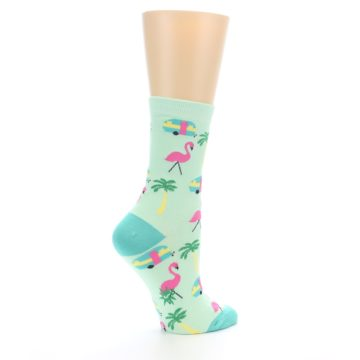 Image of Green Pink Tropical Florida Women's Dress Socks (side-1-23)